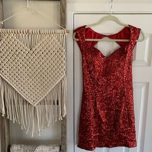 Guess Red Sequined Cocktail Mini Dress